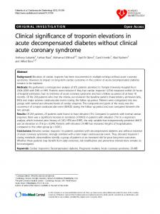 Clinical significance of troponin elevations in acute decompensated diabetes without clinical acute coronary syndrome
