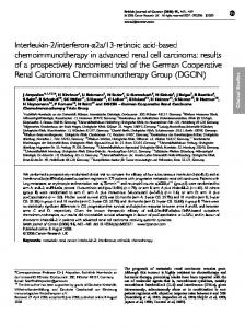 Clinical Studies. Keywords: metastatic renal cancer; interleukin-2; interferon-a; retinoids; chemotherapy