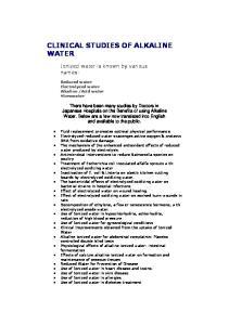 CLINICAL STUDIES OF ALKALINE WATER