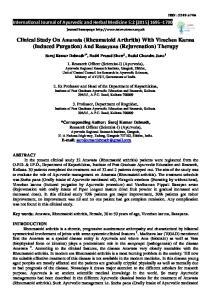 Clinical Study On Amavata (Rheumatoid Arthritis) With Virechen Karma (Induced Purgation) And Rasayana (Rejuvenation) Therapy