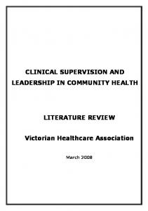 CLINICAL SUPERVISION AND LEADERSHIP IN COMMUNITY HEALTH LITERATURE REVIEW