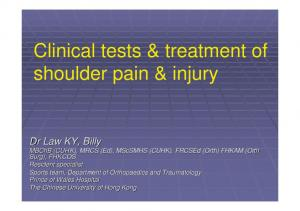 Clinical tests & treatment of shoulder pain & injury
