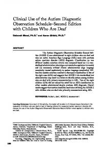 Clinical Use of the Autism Diagnostic Observation Schedule Second Edition with Children Who Are Deaf