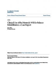 Clinical Use of the Nintendo WII for Balance Rehabilitation: a Case Report