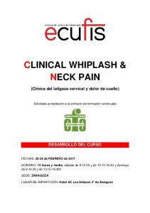 CLINICAL WHIPLASH & NECK PAIN