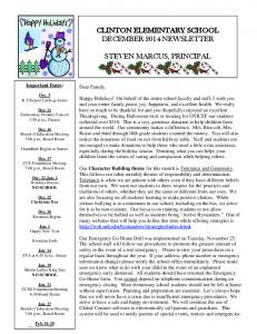 CLINTON ELEMENTARY SCHOOL DECEMBER 2014 NEWSLETTER STEVEN MARCUS, PRINCIPAL. Important Dates: Dear Family,