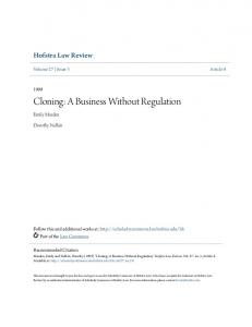 Cloning: A Business Without Regulation