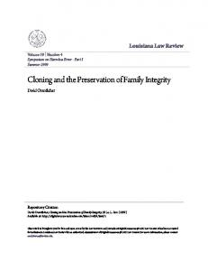 Cloning and the Preservation of Family Integrity