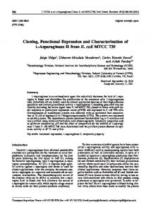 Cloning, Functional Expression and Characterization of