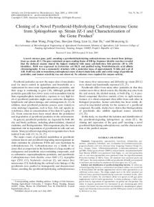 Cloning of a Novel Pyrethroid-Hydrolyzing Carboxylesterase Gene from Sphingobium sp. Strain JZ-1 and Characterization of the Gene Product