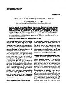 Cloning of medicinal plants through tissue culture A review