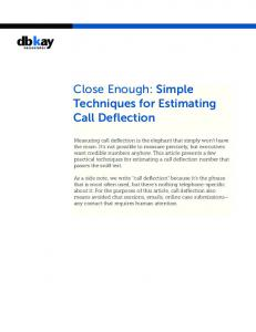 Close Enough: Simple Techniques for Estimating Call Deflection