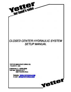 CLOSED CENTER HYDRAULIC SYSTEM SETUP MANUAL