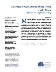 Closeness to God Among Those Doing God s Work