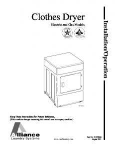 Clothes Dryer Electric and Gas Models