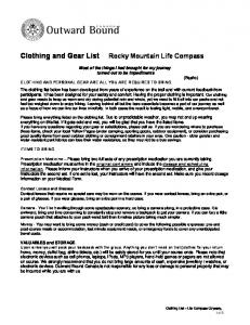 Clothing and Gear List
