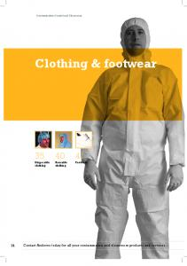 Clothing & footwear. 35 Disposable clothing. 40 Reusable clothing. 41 Footwear