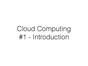 Cloud Computing #1 - Introduction