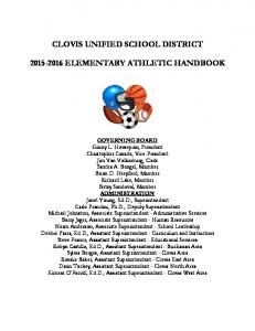 CLOVIS UNIFIED SCHOOL DISTRICT ELEMENTARY ATHLETIC HANDBOOK