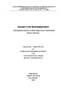 Clozapin in der Gerontopsychiatrie