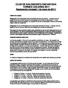 CLUB DE BALONCESTO ENCANTADA TORNEO COLORES 2011 Reglamento (revisado 1 de mayo de 2011)