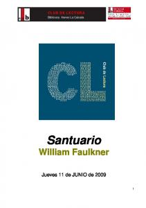 CLUB DE LECTURA. Biblioteca Ateneo La Calzada. Santuario William Faulkner