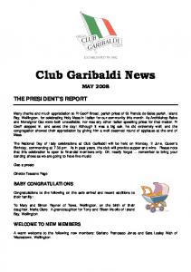 Club Garibaldi News MAY 2008