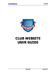 CLUB WEBSITE USER GUIDE