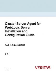 Cluster Server Agent for WebLogic Server Installation and Configuration Guide