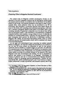 Clustering Clitics in Bulgarian Nominal Constituents *