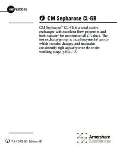 CM Sepharose CL-6B. instructions