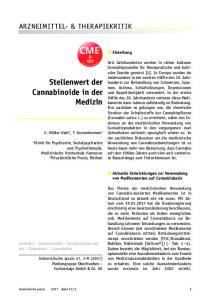 CME. Stellenwert der Cannabinoide in der Medizin ARZNEIMITTEL- & THERAPIEKRITIK. Einleitung