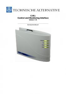C.M.I. Control and Monitoring Interface Version Benutzerhandbuch