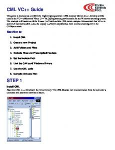 CML VC++ Guide STEP 1. See How to: Install CML