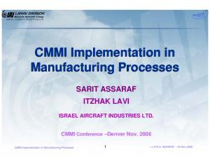 CMMI Implementation in Manufacturing Processes