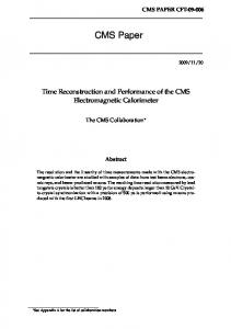 CMS Paper. Time Reconstruction and Performance of the CMS Electromagnetic Calorimeter. The CMS Collaboration. Abstract
