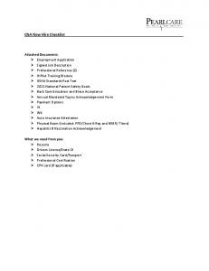 CNA New Hire Checklist