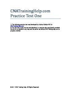 CNATrainingHelp.com Practice Test One