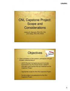 CNL Capstone Project: Scope and Considerations