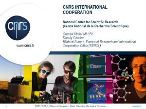 CNRS INTERNATIONAL COOPERATION