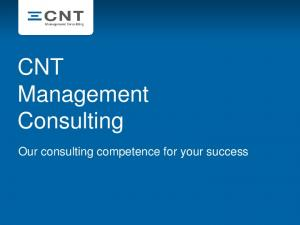 CNT Management Consulting. Our consulting competence for your success