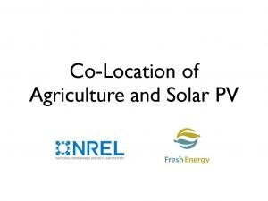 Co-Location of Agriculture and Solar PV