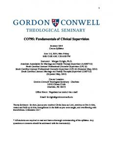CO795: Fundamentals of Clinical Supervision