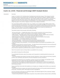 Coach, Inc. (COH) - Financial and Strategic SWOT Analysis Review