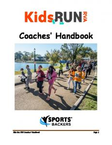 Coaches Handbook. Kids Run RVA Coaches Handbook Page 1