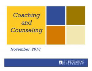Coaching and Counseling. November, 2013