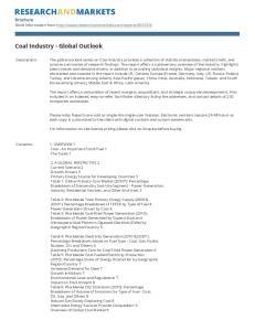 Coal Industry - Global Outlook