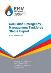 Coal Mine Emergency Management Taskforce Status Report