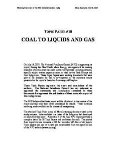 COAL TO LIQUIDS AND GAS