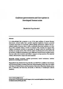 Coalition governments and Corruption in Developed Democracies